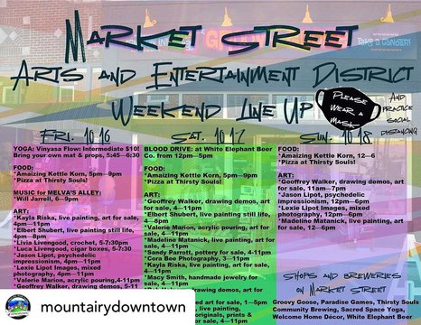 Posted @withregram • @mountairydowntown Check out the weekend line-up for the Market Street Arts & Entertainment District! A portion of Market Street will be closed off as a pedestrian area for a family friendly atmosphere with socially distanced outdoor