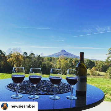 Wow amazing photo!! We love it @yadkinvalleync  @visitmayberrync  Posted @withregram • @newsieamber Discovered this new gorgeous vineyard with an amazing view of #pilotmountain @pmvwines opened in Aug. has delicious wine & a stunning view. One of the owne
