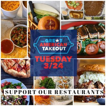 Take part in The Great American Takeout Event TODAY and help support local restaurants!!