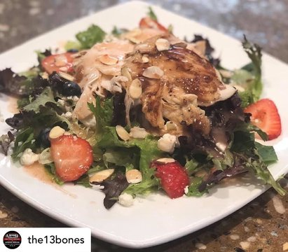 Posted @withregram • @the13bones Tuesday Lunch Special...Summer Berry Chicken Salad $9  Romaine Spring Lettuce Mix with Blueberries, Strawberries, Feta Cheese, Almonds and Chicken with a Raspberry Vinaigrette Dressing! #13bones #mountairy #surrycounty #lu