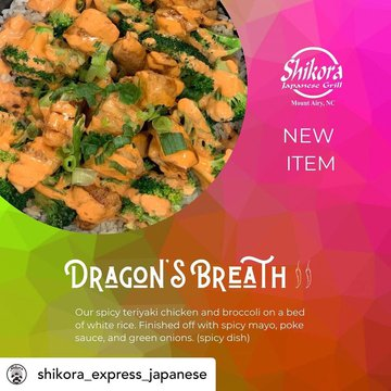Posted @withregram • @shikora_express_japanese NEW // You asked for it and we are putting it on the menu! Dragon's Breath is now available for purchase along with our new sauce, SPICY MAYO! Spicy Mayo is available along with our other sauce options and by
