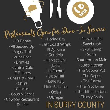 Some restaurants in Surry County have reopened their dining rooms for Dine-In Service! Seating is limited and spaced apart for social distance requirements. Many restaurants, including many not on this list are still offering take-out and curbside pick-up