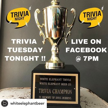 Posted @withregram • @whiteelephantbeer 🔥Trivia Tuesday will still carry on tonight via Facebook Live at 7pm! Tune in and don't miss out! 🍺Also we will be returning to normal operating hours starting at 4pm today. We are so pumped to welcome your beautifu